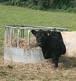 Krmelce pro dobytek, krmné kruhy pro skot, jesle na seno pro krávy